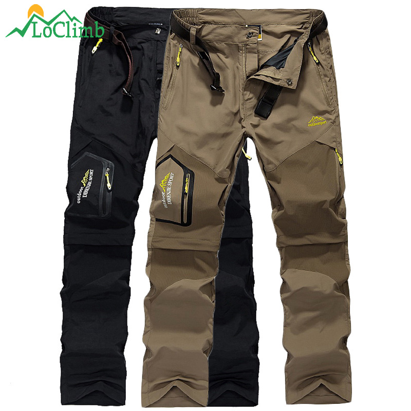 LoClimb Removable Quick Dry Camping Vandring Bukser Mænd Mountain Climbing Sport Bukser Black Trekking Outdoor Bukser Shorts, AM002