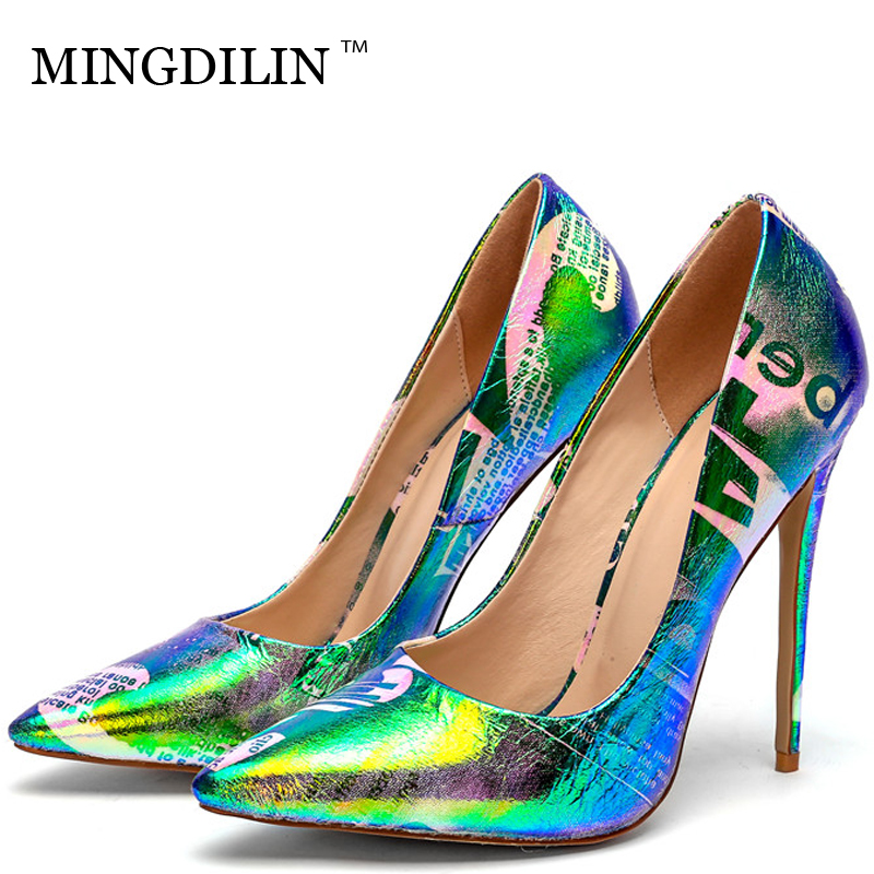 MINGDILIN Wedding Party Women's Pumps High Heels Shoes Pink Blue Woman Shoes Plus Size Pointed Toe Fashion Sexy Pumps Stiletto mingdilin stiletto women s golden pumps wedding high heels shoes plus size 43 party woman shoes fashion sexy pointed toe pumps