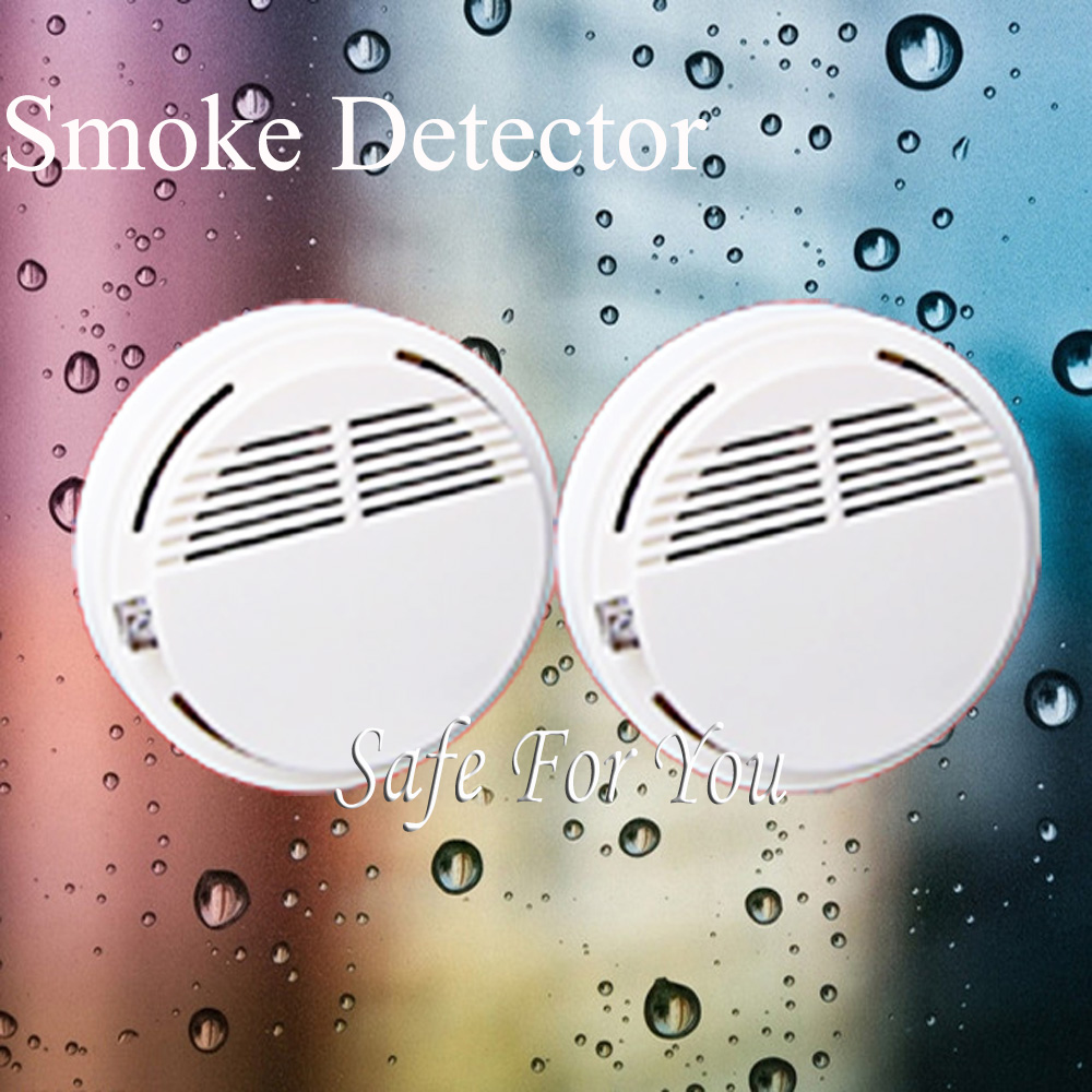 Free shipping NEW White 2pcs wireless smoke detector High quality Home Burglar Security Alarm FOR GSM alarm system free shipping new gsm alarm system hot 4pcs white smoke detector 433 mhz sensor for wireless home burglar security alarm system