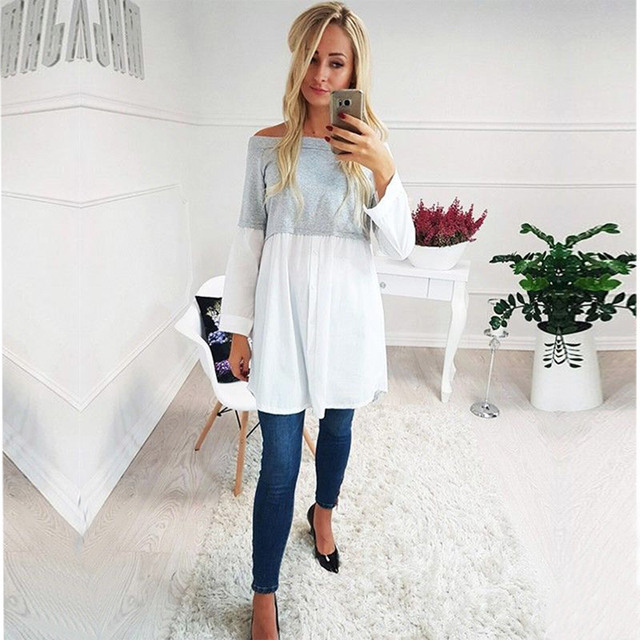Female Maternity Tees Patchwork Big Size Clothes Tops For Pregnant Women Print Fashion Pregnancy Shirts Maternity Clothing 2018