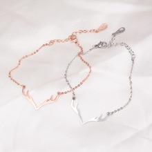 Fashion cute Antlers bracelets & bangles bileklik, stainless steel women bracelet femme pulseira rose gold color jewelry