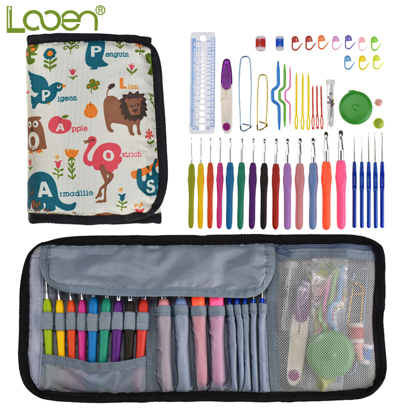 14pcs Looen Crochet Hook Set Soft Handle 2.0-10.0mm Needles Yarn Weave Knitting Needle Sewing Accessories With Cute Bag