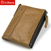 DICIHAYA Hot!! Genuine Leather Men Wallets Credit Business Card Holders Double Zipper Cowhide Leather Wallet Soft Purse Carteira
