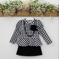 Kids Girls Long Sleeve One Piece Dress Hound stooth Necklace Flower Dress  2-7Y