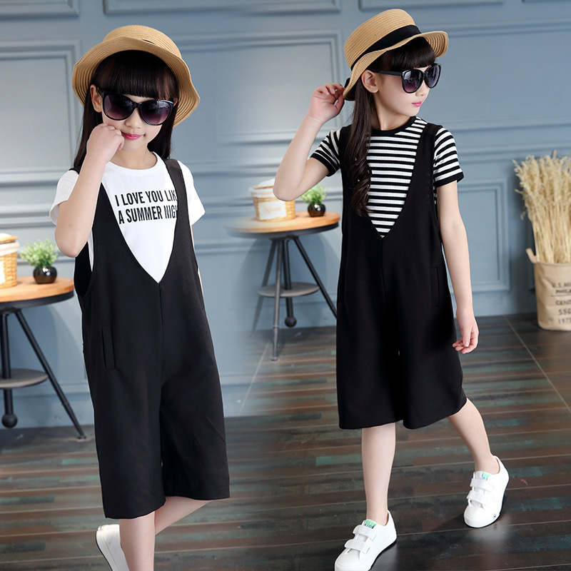 Children clothing sets 2017 summer new girls clothes fashion stripes Short sleeves Tops T-shirt+Suspender Pant Kids Sports suit