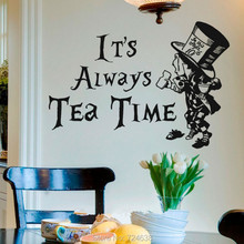 Alice In Wonderland Mad Hatter Itu0027s Always Tea Time Wall Art Sticker Decal  Home DIY Decoration Wall Mural Removable Room Decor