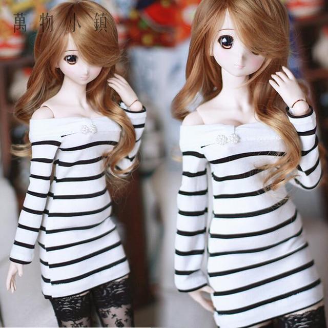 NEW 1/3 1/4 1/6 BJD SD DD MSD YOSD Doll Clothes Dew Shoulder Sweet Stripe Dress/Outfit