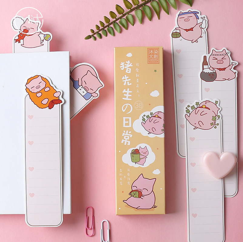 30pcs/1lot Cartoon Cute Pink Pig Paper Bookmarks Message Cards Bookmark For Books/Share/book Markers/tab For Books/stationery