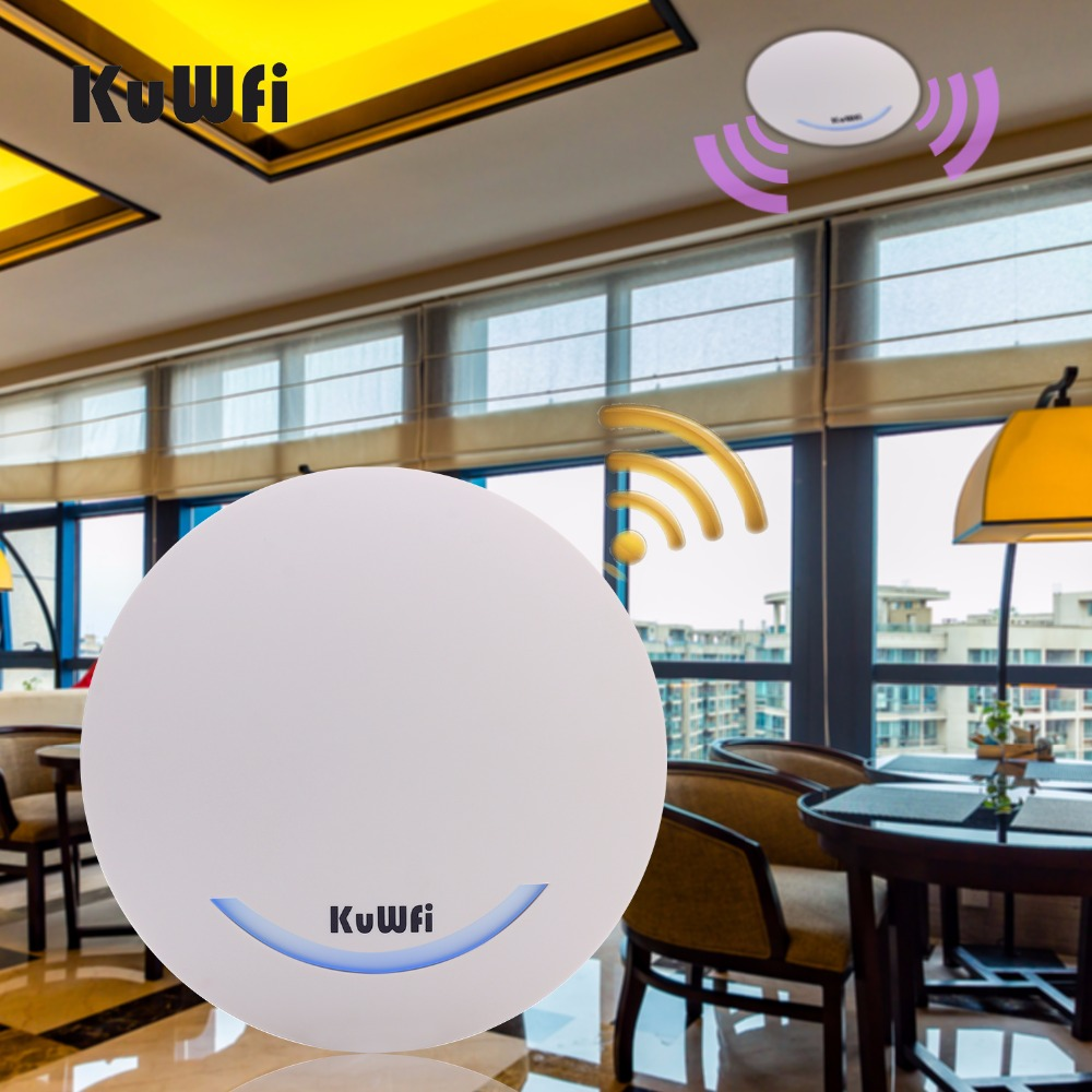 KuWFi 600Mbps Ceiling Wireless Router Dual Band Access Point AP Wifi Signal Amplifier WIFI Extender Signal Bosster POE Router new tp link wdr7400 1750mbps 11ac 6 antenna fast wifi extender wireless dual band router for home computer networking
