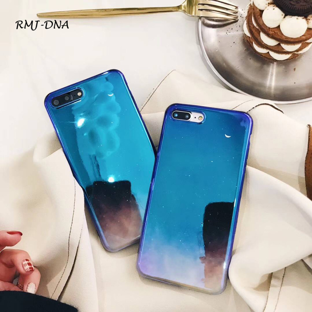 RMJ-DNA <font><b>Blue</b></font> Phone Case For iPhone 6 6S 7 8 Plus Fashion Cool Starry <font><b>Sky</b></font> Gradient Color Soft Silicone For IPhone X Cover Cases
