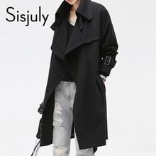 Sisjuly Solid Color Pocket Lacing font b Women s b font Casual Overcoat Belt Fashion Fall