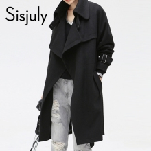 Sisjuly Solid Color Pocket Lacing Women's Casual Overcoat Belt Fashion Fall Winter