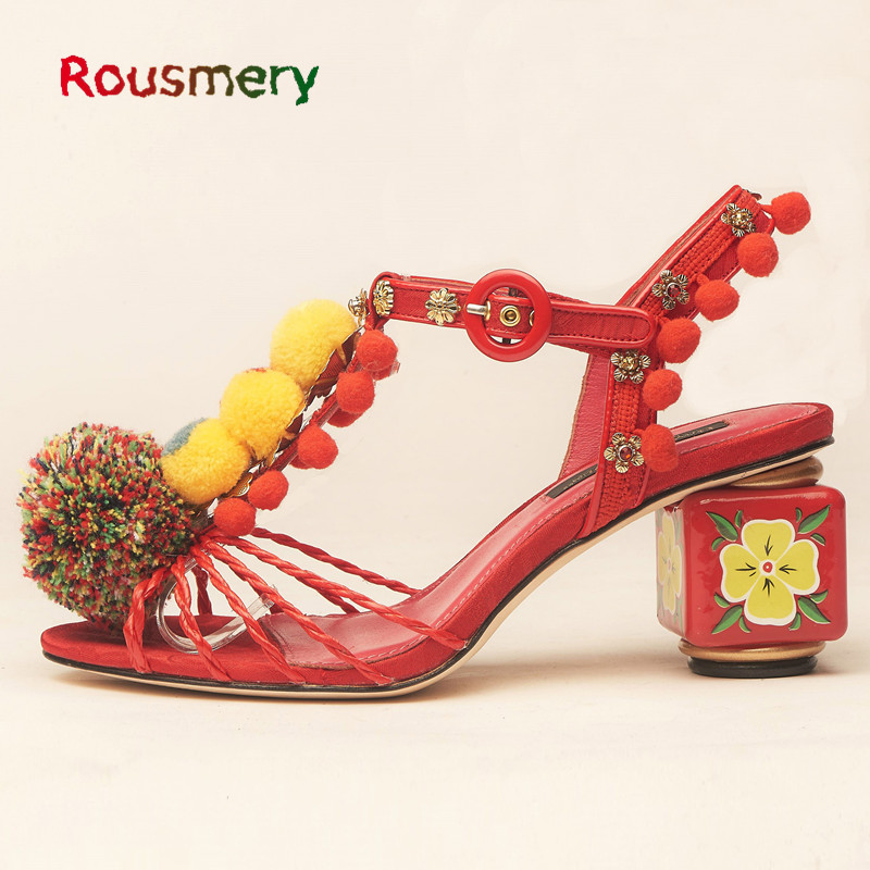 Red Woman Sandals Summer Colorful Pompom T-tied Zapatos Mujer Bling Metal Decoration Square Heel With Flower Sapato Feminino