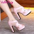Vallkin 2017 sexy gladiador peep toe blanco de verano zapatos de las mujeres gruesa de Tacón Alto Mujer Bombas Cremallera de la Boda/Zapatos de fiesta de Tamaño 34-43