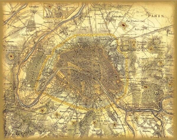 Vintage France Paris City Map Retro Oil Painting Print On Canvas