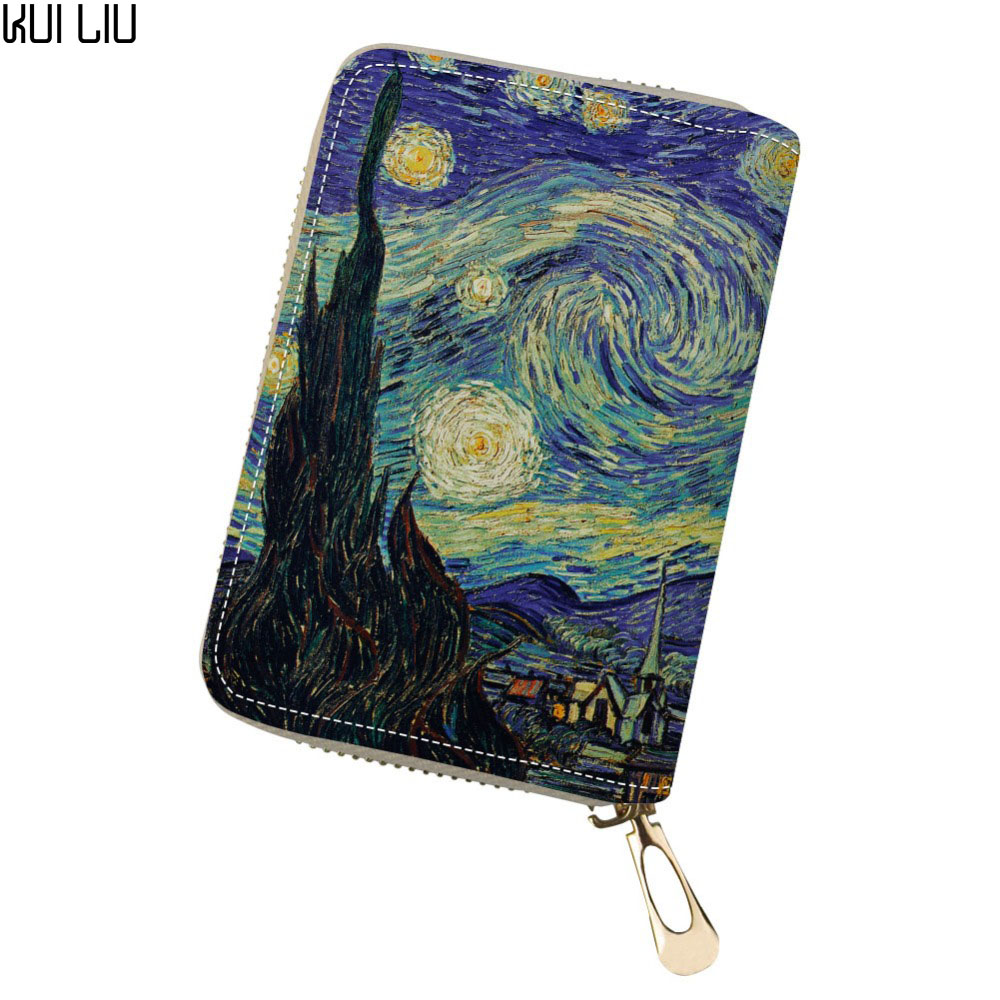 Customized Cute Personality Id Card Holder Credit Card Wallet Monedero PU Leather Purses Vincent Van Gogh Starry Night Print