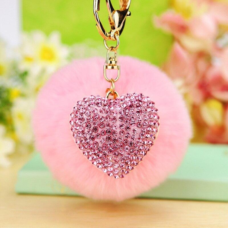 Heart Crystal Rhinestone Keychain Charm Pendant Keyring Key Chain Llavero