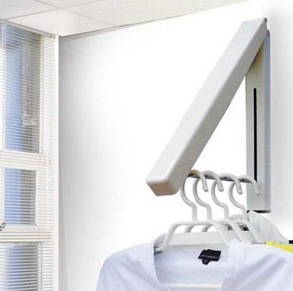 Free shipping stainless steel retractable clothes racks indoor balcony bathroom hangers KF177