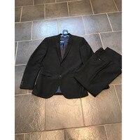 높은 품질의 남성 웨딩 블랙 신랑 남성 정장 현대 남성 2 개 (재킷 + 바지) 주문
