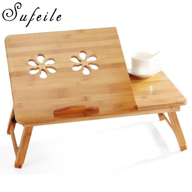 sufeile learn laptops table natural bamboo laptop table desk adjustable height folding table computer desk d5 - Adjustable Height Computer Desk