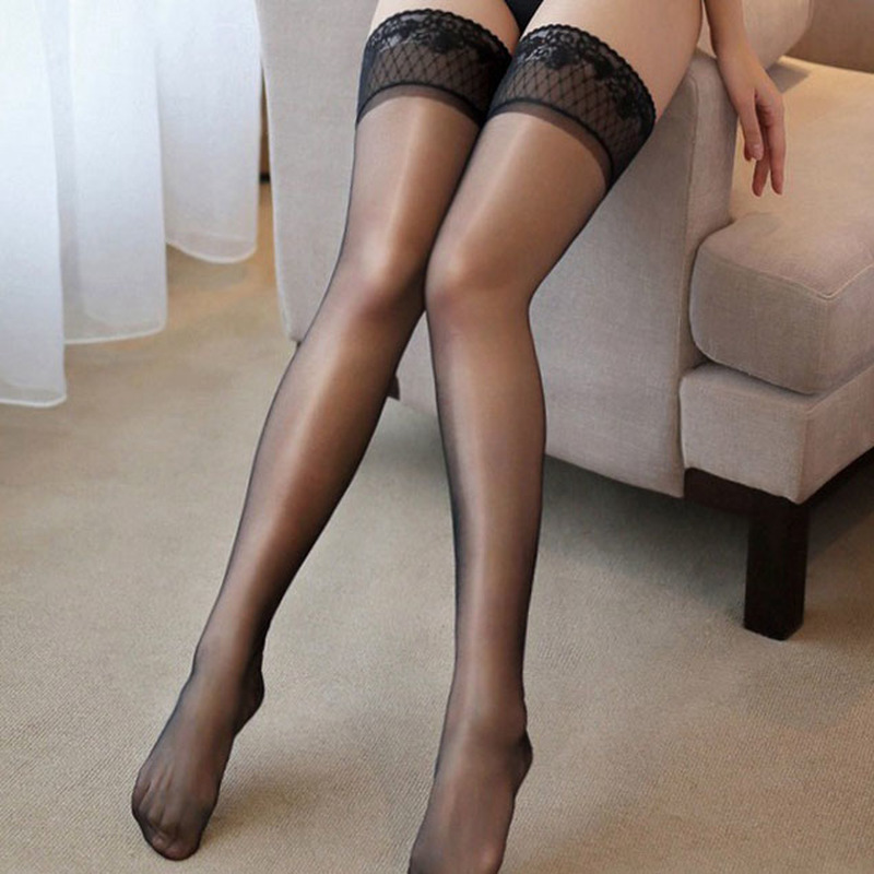 SAROOSY New Sexy Lace Stockings For Women Gloss Silk Over Knee Hot Erotic Lingerie With Silicone Plus Size Wholesale