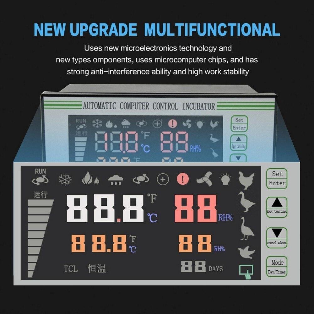 Thermostat complètement automatique de contrôleur d'incubateur d'oeufs de contrôle avec des animaux de ferme de capteur de contrôleur d'éclosoir d'oeufs d'humidité de la température