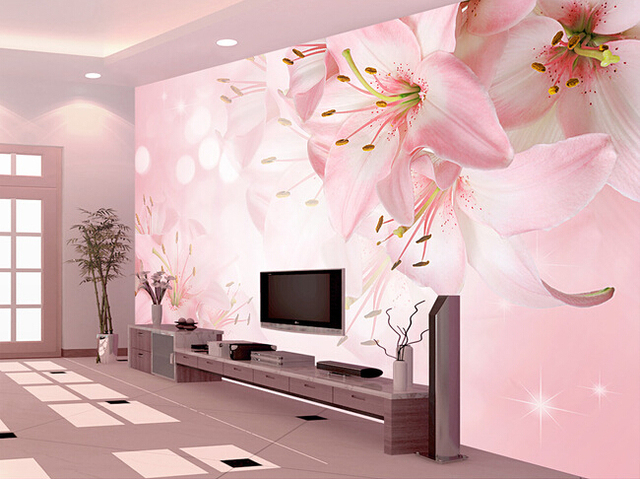 Custom pink wallpaper, lily flower wall murals for the living room ...