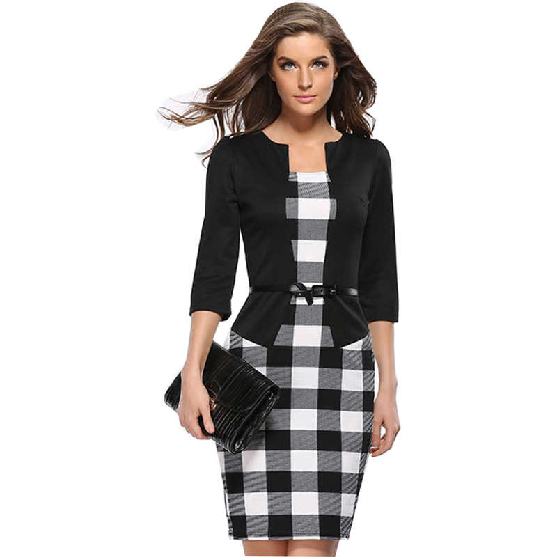 Sukienka kobiety OL fałszywe dwie paczki Hip ołówek pas jesień modele europejska sukienka w kratę colorss plus rozmiar Vestidos HJY708