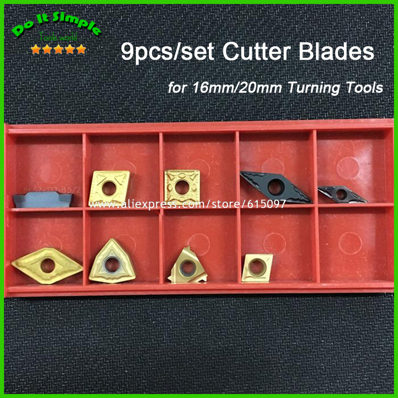 9pcs/set Blade for 16mm/20mm Hard Alloy Turning Tool, CNC Lathe Tool Kits Cutter , Durable Cutting Tools free shipping p type cnc tool cutter pclnr 2020k12 external turning tool holder blade lathe cutters