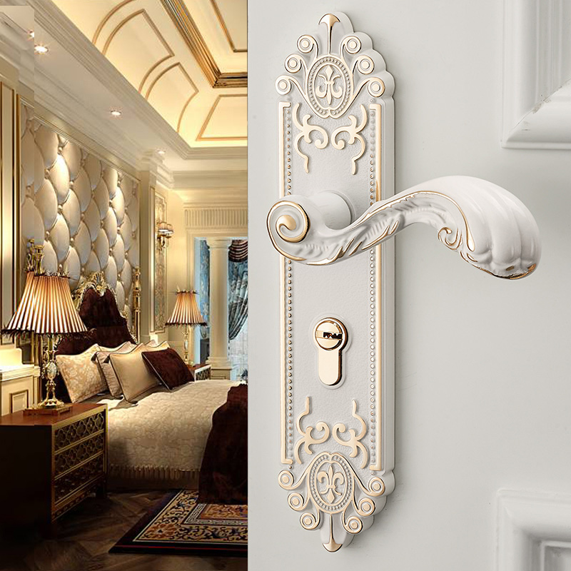 Ivory White Interior Door Lock Household Solid Wooden Doors Bedroom Locks  Room Silent Continental Lock Complete Set In Cabinet Catches From Home  Improvement ...