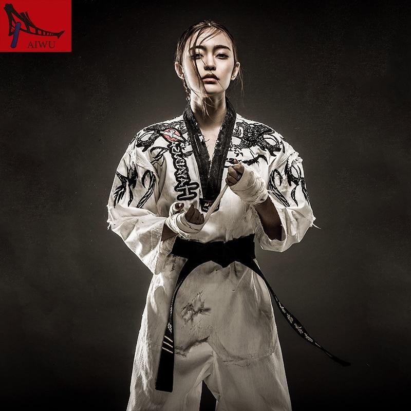Taekwondo Doboks Black White individual character long sleeved Personalise embroidery tae kwon do uniforms adult high-end TKD martial arts tkd tae kwon do korea v neck adult taekwondo master uniform for poomsae