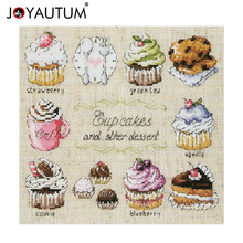 14ct Unprinted Counted Cross Stitch Kits For Embroidery Needlework Cup Cakes and other Dessert Kitchen Decor 12 by 12 inches