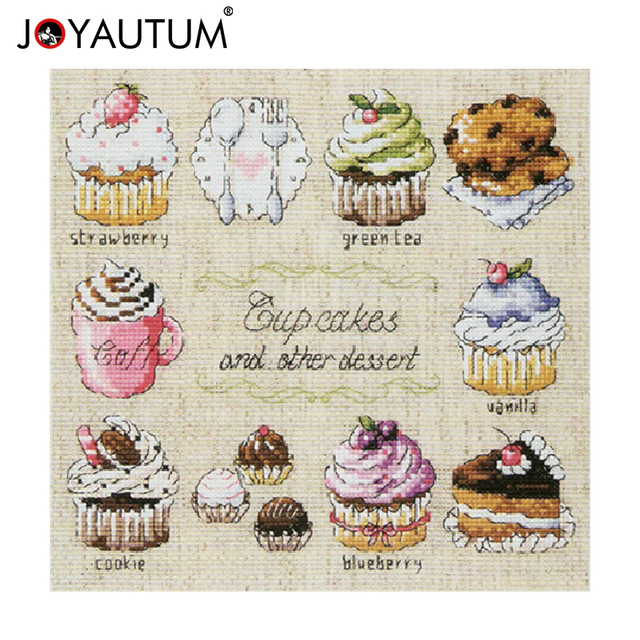 14ct Unprinted Counted Cross Sch Kits For Embroidery Needlework Cup Cakes And Other Dessert Kitchen Decor