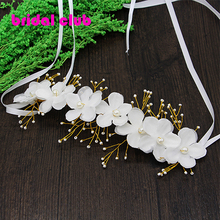 New Arrival 2015 Handmade Bride Flower Hairband Women Lady Pearl Wedding Headdress