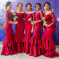 2017 Red Long Sleeve Boat Neck Mermaid Bridesmaid dress Beaded Pleat African Prom Gown Wedding Dress robe demoiselle d'honneur