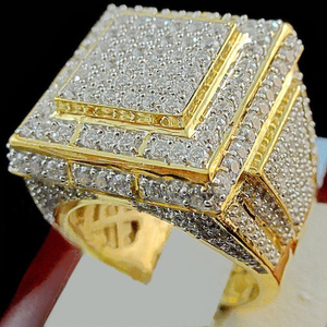 DoreenBeads Fashion Rings Gold Color Setting Transparent Rhinestone Covered Creative Rings For Men Domineering Accessories,1 pc