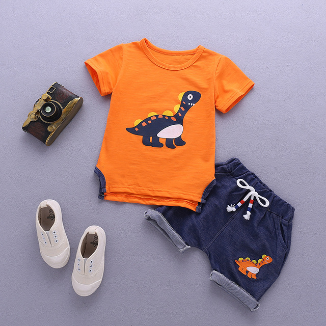 Newborn Orange And Blue Clothing Set For Baby Boy