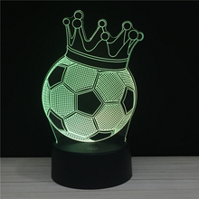 LED 3D Night light Sports series Touch and Remote 7 Colors lights Athlete Football Rugby Basketball MVP Crown Nights lamps RGB