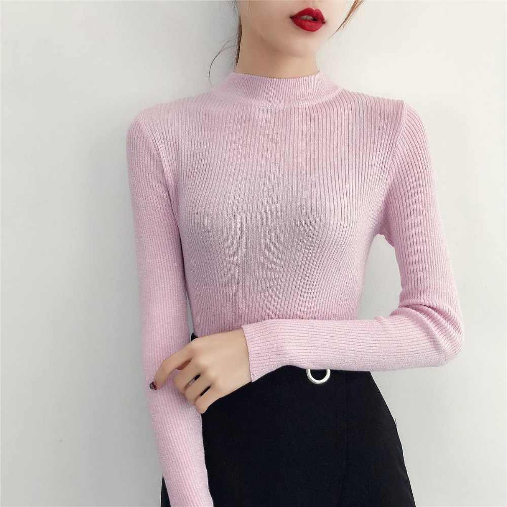 חדש 2019 סתיו וחורף Slim חצי צוואר סוודר נשי בהיר משי סרוג סוודר ארוך שרוול השפל סוודר מגשרים נשים