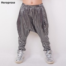 Heroprose 2018 New personality silver plaid big crotch trousers stage performance costumes harem hip hop skinny pants for kids