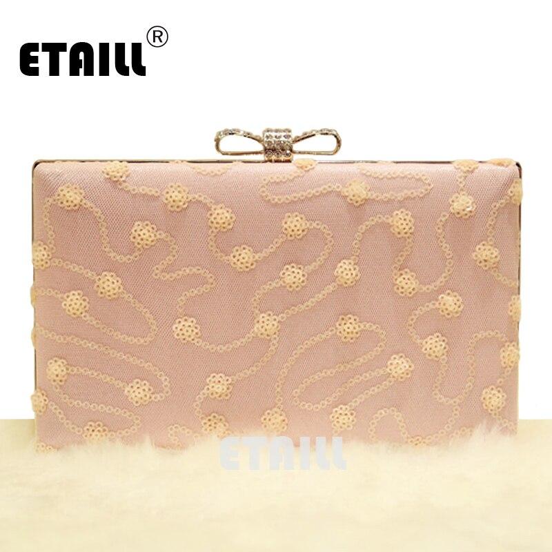 ETAILL Lentejuelas Rosa de Encaje de Flores de Diseño de Lujo Bolsos de Noche co