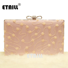 ETAILL Sequins Flower Pink Lace Luxury Designer Evening Bags with Diamonds Bow Hasp Rhinestone Banquet Handbag Day Clutch Female 2018vintage evening clutch with luxury diamonds evening handbag with detachable chain unique design for a variety of occasions