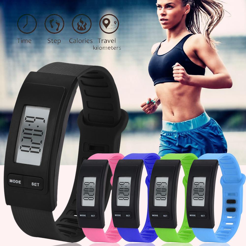 Women Sports Watches Pedometer Electronic Watches Step Bracelet Calorie Counter Digital LCD Walking Distance Men Outdoor Running