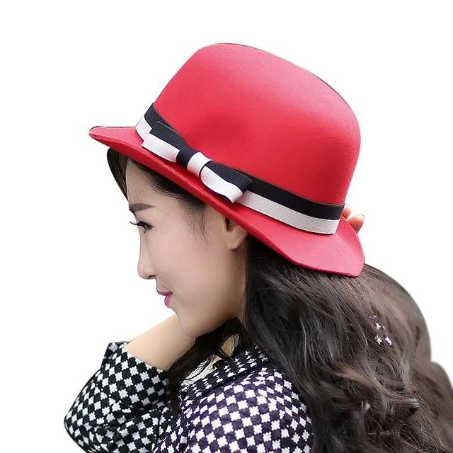 2016 nuevo diseño moda recién llegado Woll sombreros de fieltro accesorios del arco del Color puro mujeres dulce exterior de alta calidad del sombrero del sol