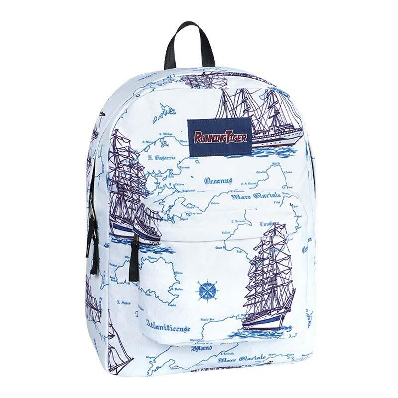 Sailing map feminina backpack Women school Bag waterproof teenagers man computer Backpack laptop Boys Girls backpack in Backpacks from Luggage Bags