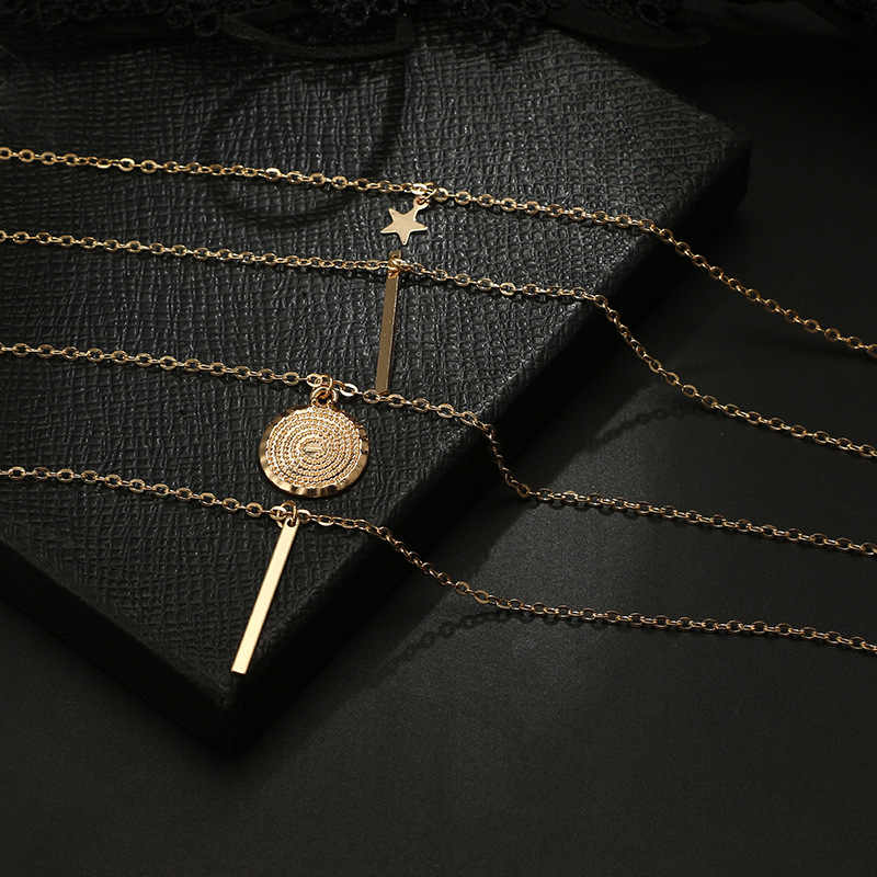 Nuevo Collar COLGANTE multicapa Vintage bohemio para mujer, Collar de Metal con cuernos de estrella de oro, Collar Tribal de color plateado