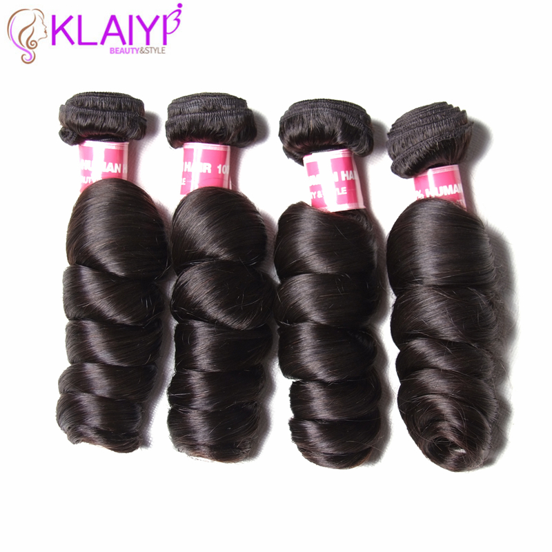 KLAIYI Hair Peruvian Loose Wave Bundles Remy Hair 100% Human Hair Double Weft 8-30 Nature Color 4 Pieces Weaves Free Shipping