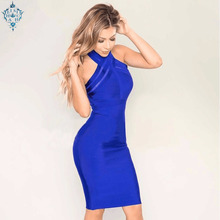 цена Ameision New Summer Evening Party Dresses Women Sexy Vestidos Halter Neck Red Blue Bodycon Bandage Dress 2019 Elegant Club Dress в интернет-магазинах