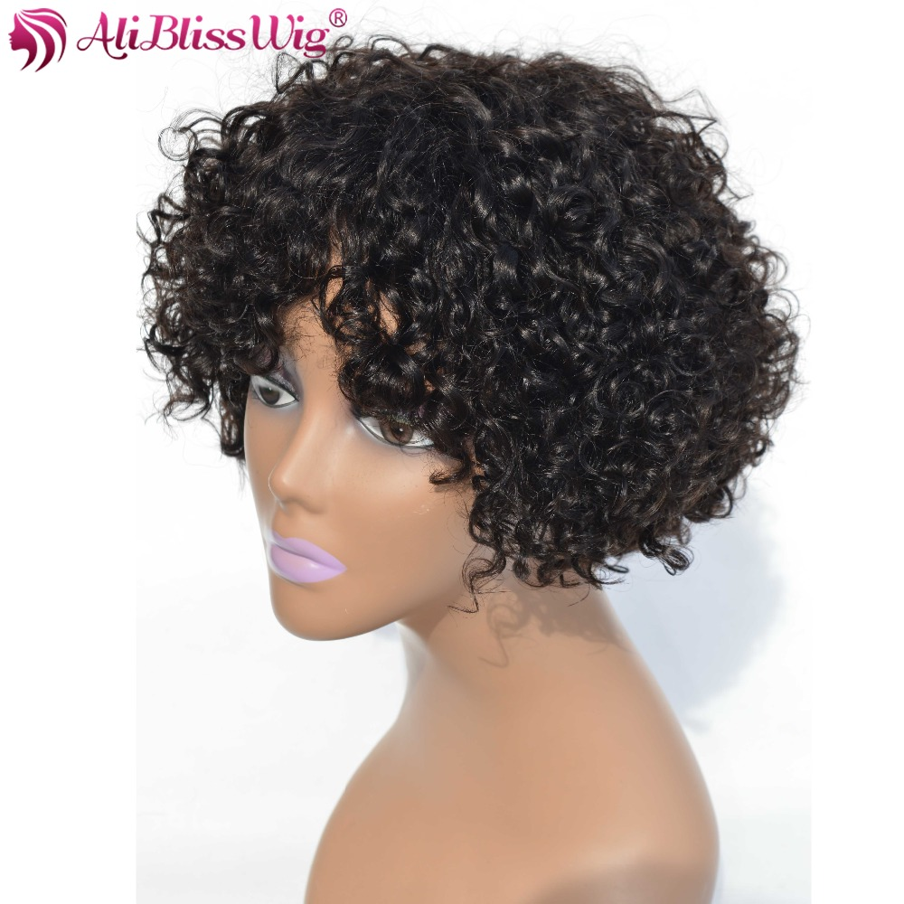 AliBlissWig Curly Short Wigs For Black Women #1B Color Brazilian Non-Remy Hair None Lace Human Hair Wigs Medium Cap Machine Made (1)