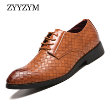 ZYYZYM Men Formal Shoes Leather Gingham Plus Size EUR 38-48 Wedding Fashion Point Toe Party Dress